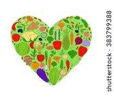watercolor heart from healthy... | Shutterstock . vector #383799388