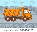 vector cartoon dump truck | Shutterstock .eps vector #383800690
