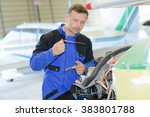 fixing an aiplane | Shutterstock . vector #383801788