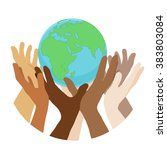 hands with earth  people of the ... | Shutterstock .eps vector #383803084