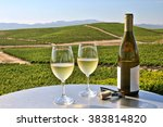 two glasses of white wine... | Shutterstock . vector #383814820