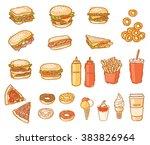fast food set on white | Shutterstock .eps vector #383826964