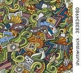 cartoon hand drawn doodles on... | Shutterstock .eps vector #383834980
