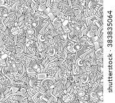 cartoon hand drawn doodles on... | Shutterstock .eps vector #383835064