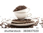 coffee beans inside and around... | Shutterstock . vector #383837020