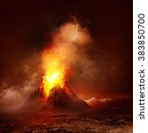 A Large Volcano Erupting Hot...