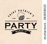 typographic saint patrick's day ... | Shutterstock .eps vector #383858020