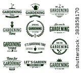 gardening typographic vector... | Shutterstock .eps vector #383858170