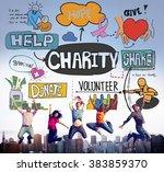 charity help give volunteer... | Shutterstock . vector #383859370
