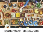 brunch choice crowd dining food ... | Shutterstock . vector #383862988
