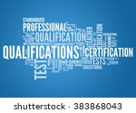 word cloud with qualifications... | Shutterstock . vector #383868043