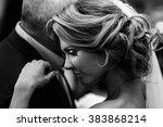 beautiful blonde bride dancing... | Shutterstock . vector #383868214