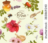 vector herbal tea seamless... | Shutterstock .eps vector #383869240
