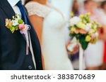 wedding bouquet with peony ... | Shutterstock . vector #383870689