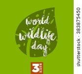 world wildlife day. march 3.... | Shutterstock .eps vector #383875450
