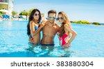 group of smiling friends having ... | Shutterstock . vector #383880304