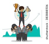 business man leader and worker... | Shutterstock .eps vector #383888506