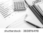 graph and note book on the... | Shutterstock . vector #383896498