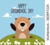 groudhog day background | Shutterstock .eps vector #383897224