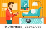 man with robot vacuum cleaner. | Shutterstock .eps vector #383917789