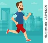 man jogging with earphones and... | Shutterstock .eps vector #383918200