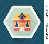 building house flat icon with... | Shutterstock .eps vector #383921173