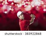 golf player in a red shirt...   Shutterstock . vector #383922868