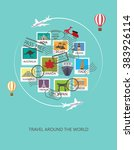 world travel  background. stamp ... | Shutterstock .eps vector #383926114