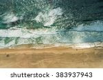 aerial view of ocean beach.... | Shutterstock . vector #383937943