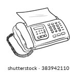 fax machine vector  a hand... | Shutterstock .eps vector #383942110