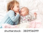 happy toddler girl playing with ... | Shutterstock . vector #383956099