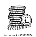 Stack Of Coins Doodle  Pound...