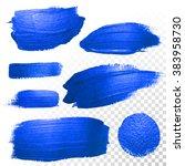 deep blue watercolor brush... | Shutterstock .eps vector #383958730