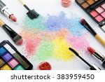 makeup products on white... | Shutterstock . vector #383959450