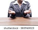 businesswoman showing empty... | Shutterstock . vector #383960023
