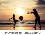 father and son with ball... | Shutterstock . vector #383962840