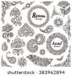 big vector set of henna floral... | Shutterstock .eps vector #383962894