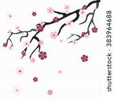 Blooming Sakura Branch With...