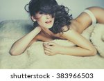 fashion photo of beautiful nude ... | Shutterstock . vector #383966503
