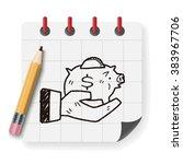 doodle pig money bank | Shutterstock .eps vector #383967706