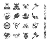 viking culture icons. included... | Shutterstock .eps vector #383973559