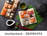 Set Of Sushi And Maki Roll And...