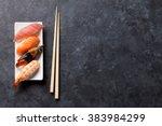 Sushi Set And Chopsticks On...