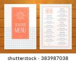 seafood restaurant menu on... | Shutterstock .eps vector #383987038