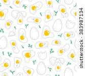 eggs seamless pattern on white... | Shutterstock .eps vector #383987134