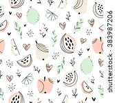 stylized fruits and doodle... | Shutterstock .eps vector #383987206