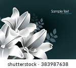 silver background with lily... | Shutterstock .eps vector #383987638