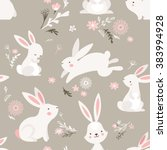 Stock vector easter seamless pattern design with bunnies 383994928
