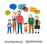 happy family with speach... | Shutterstock .eps vector #383994940