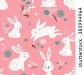 easter seamless pattern design... | Shutterstock .eps vector #383994964